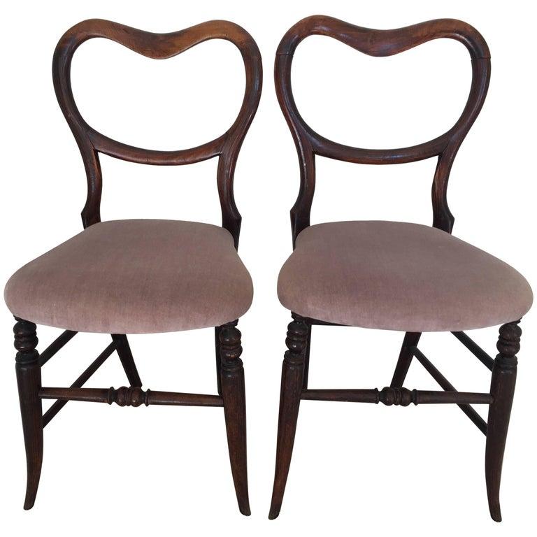 Pair of 19th Century Victorian Walnut Chairs