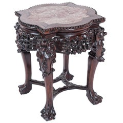 Antique Chinese Carved Rosewood and Marble Inlay Stool Side/Accent Table