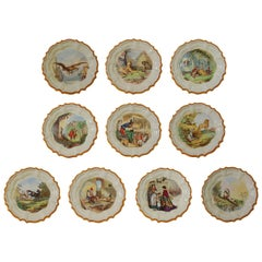Set of 12 Plates, Aesop Fables, Wedgwood, circa 1860