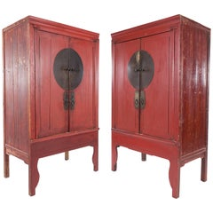 Pair of Antique Red Lacquer Ming-Style Chinese Wardrobe or Armoire Cabinets