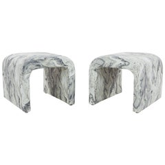 Pair of Vintage Waterfall Ottomans in New Marbleized Fabric