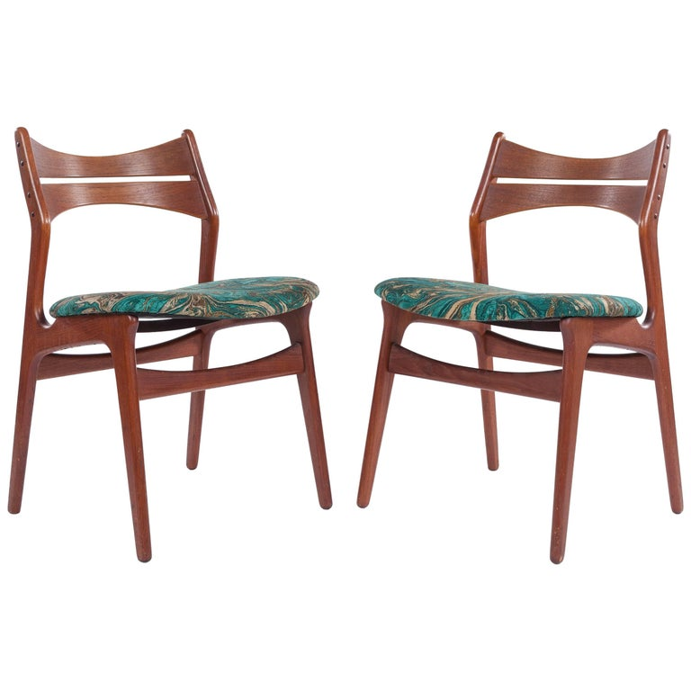 Pair of Mid-Century Modern Chairs in New Duralee Fabric