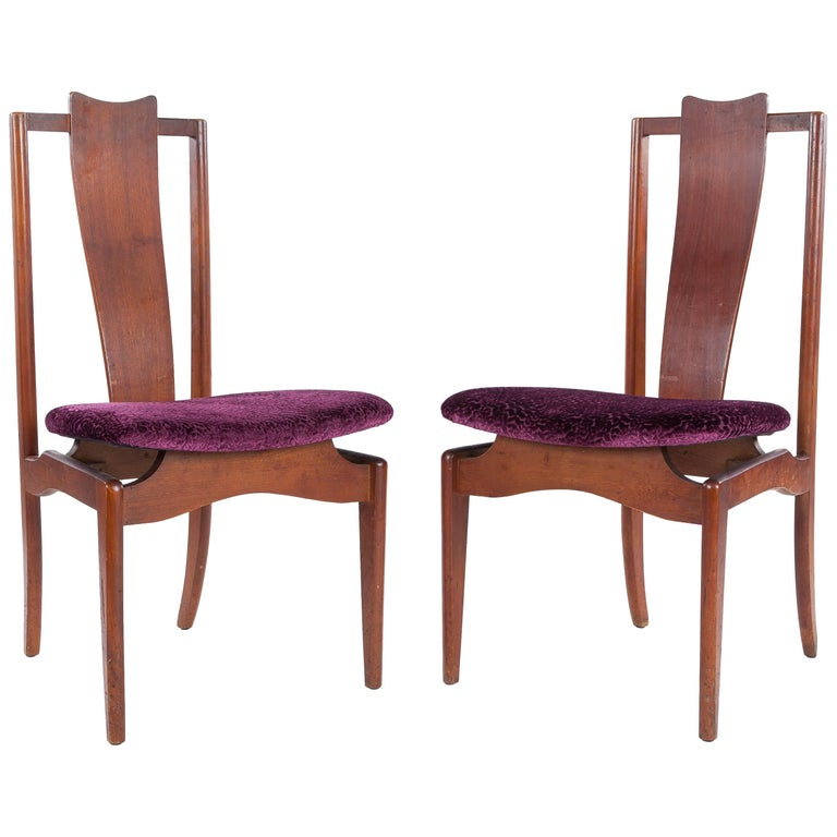 Pair of Mid-Century Modern High Back Chairs in New Osborne & Little Fabric