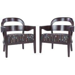 Pair of Mid-Century Modern in the Style of Jiun Ho Mopane Lounge Chairs