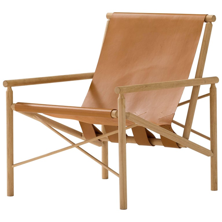 Amura 'Ease' Chair in Oak and Leather by Gareth Neal For Sale