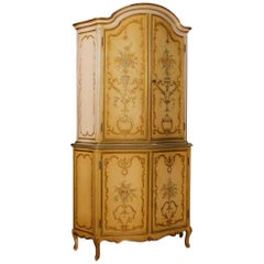 Italian Sideboard in Lacquered and Giltwood with Four Doors from 20th Century