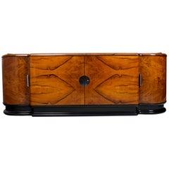 Unique Walnut Art Deco, Functionalism Saloon Sideboard from Czechoslovakia