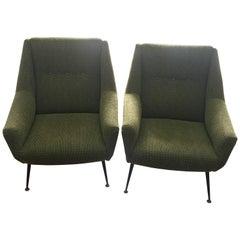 Pair of Mid-Century Modern Gio Ponti Style Green Armchairs, Italy, circa 1950
