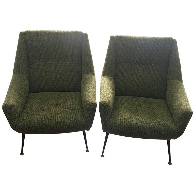 Pair of Mid-Century Modern Gio Ponti Style Armchairs, Italy, circa 1950
