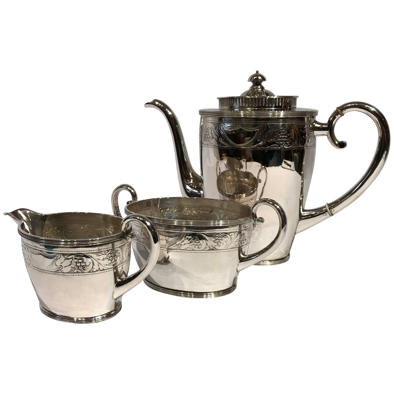 Coffee Set of Coffee Jug, Sugar Bowl, Cream Jug with Chasings, Hallmarked Silver