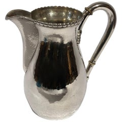 Beautiful Water Jug in Hammered Hallmarked Silver and Simple Pearl Edge