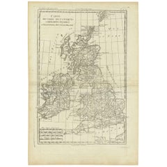 Antique Map of the Kingdoms England, Scotland and Ireland by R. Bonne, 1780