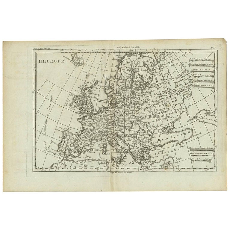 Map Of Europe 1780.Antique Map Of Europe By R Bonne 1780 For Sale At 1stdibs
