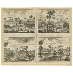 Antique Print of the Churches of Poelepolay, Mogommate, Tambamme and Mulipatto