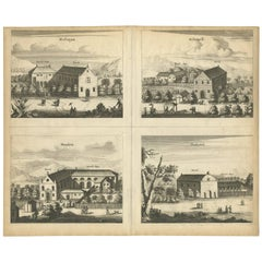 Antique Print of the Churches of Mallagam, Achiavelli, Mayletti and Oudewil