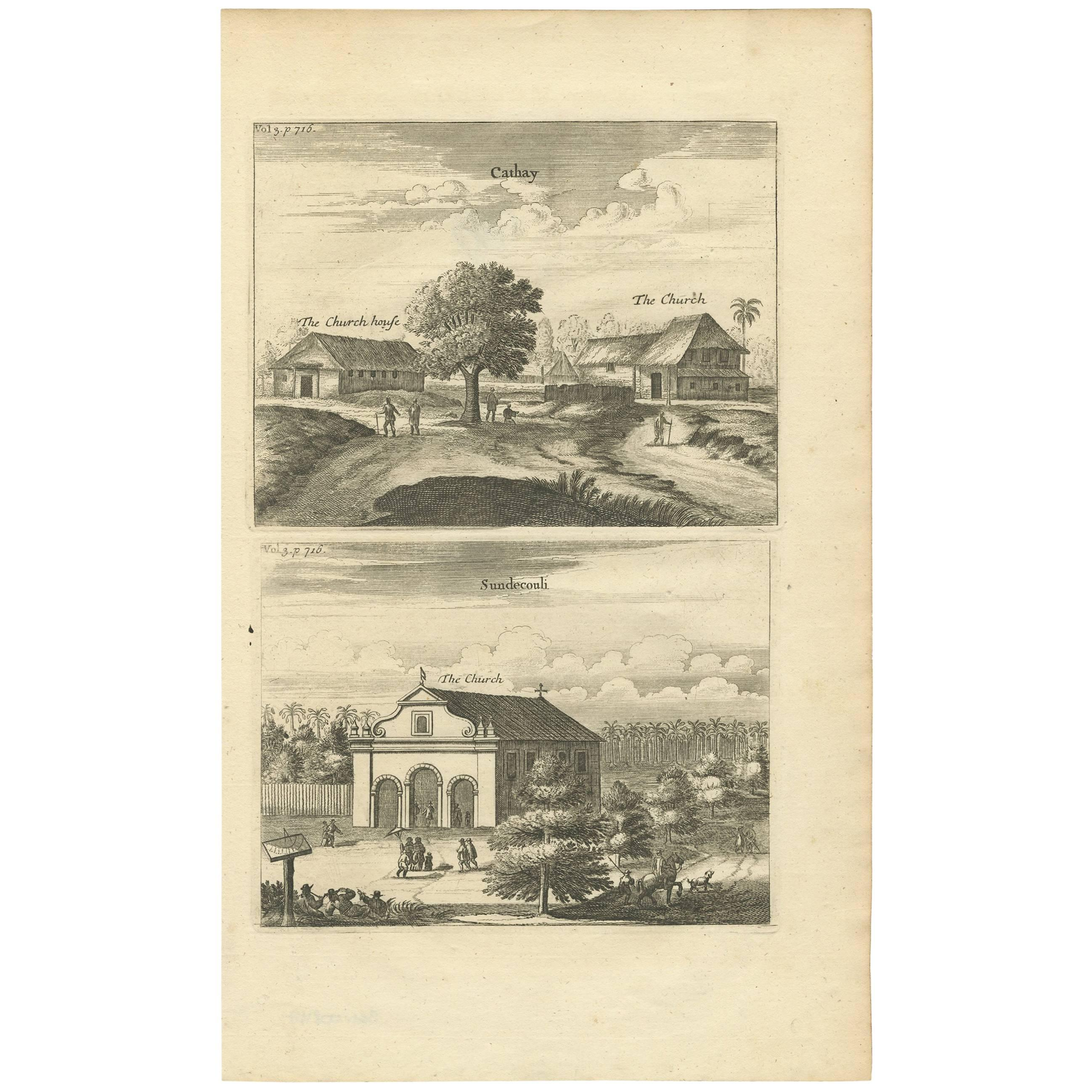Antique Print of the Churches of Cathay and Sundecouli 'Ceylon, Sri Lanka'