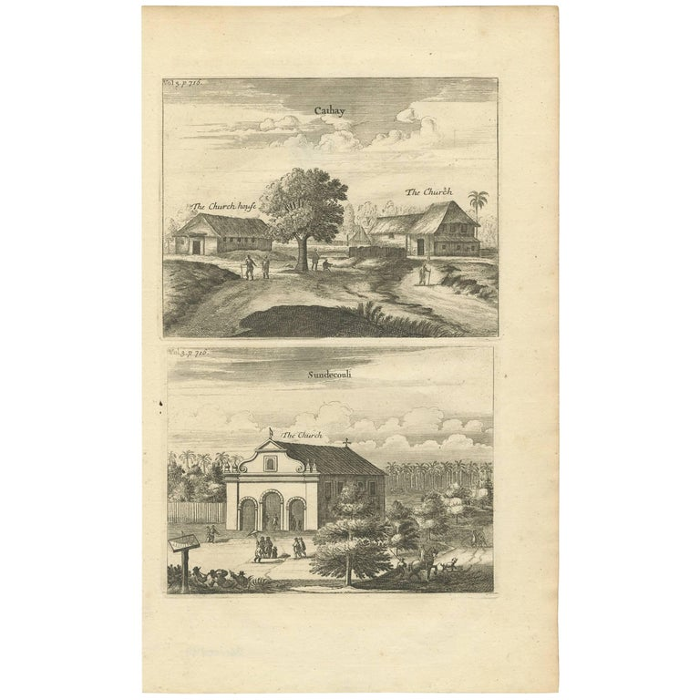 Antique Print of the Churches of Cathay and Sundecouli 'Ceylon, Sri Lanka' For Sale