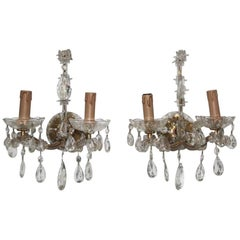Pair of Maria Theresa Sconces 1950s Design Crystall