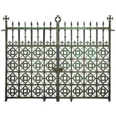 Pair of 19th Century Ecclesiastical Gothic Bronze Brass Driveway Gates