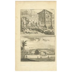 Antique Print of Punishment and the Church of Telipole Ceylon, Sri Lanka
