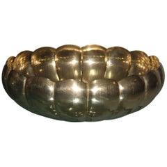 Large Bowl Brass Renzo Cassetti Italian Design 1970s, Hammered Brass