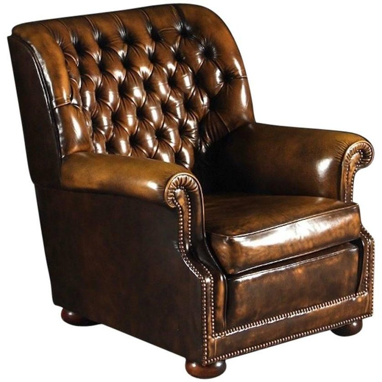 Brown Leather Pegasus Chesterfield Armchair By Art Forma Upholstery