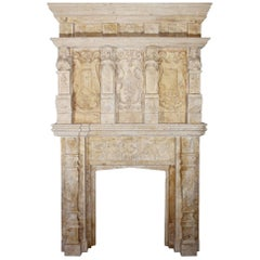 Floral Decorated Sandstone Fireplace with Caryatids and Atlantes