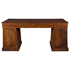 Regency Mahogany Break Front Pedestal Sideboard