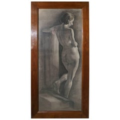 Female Nude a Large Framed Study in Charcoal