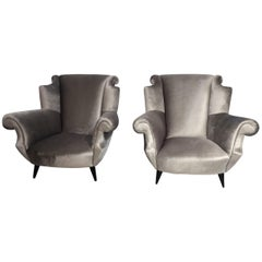 Pair of Italian Designed Armchairs Attributed to Gio Ponti