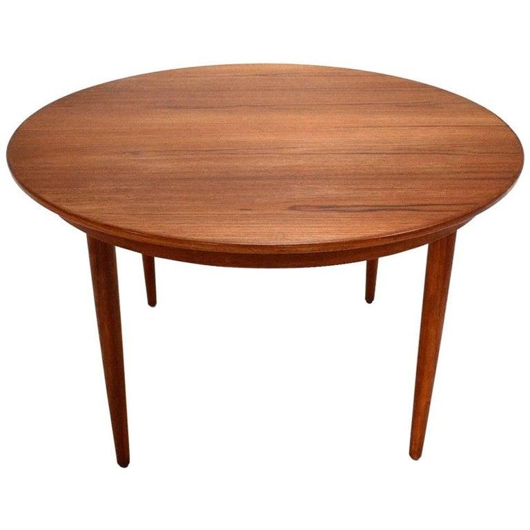 Danish Teak Circular Double Extending Dining Table Midcentury, 1960s