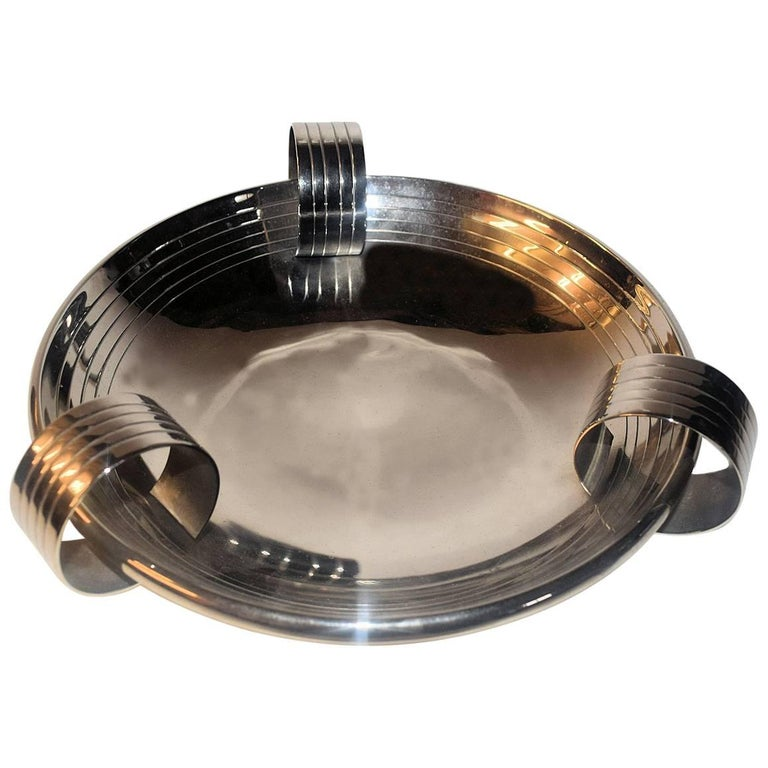 Superbly Stylish Art Deco Silver Plated Modernist Bowl