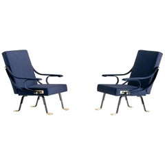 Pair of Ignazio Gardella Digamma Armchairs in Blue Raf Simons Fabric