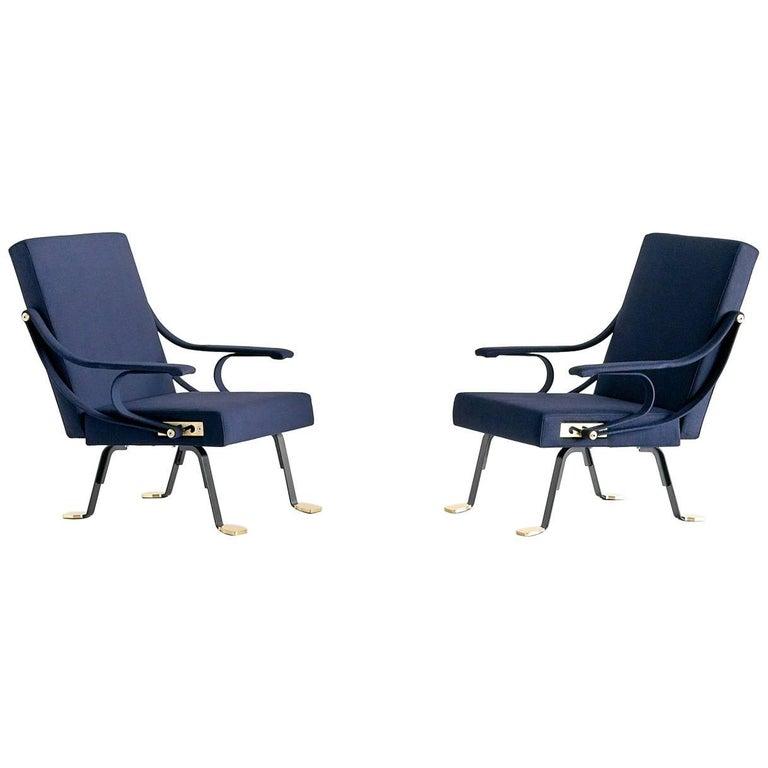 Pair of Ignazio Gardella Digamma Armchairs in Blue Raf Simons Fabric
