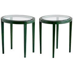 Pair of Green Italian Art Deco Side Tables Designed for a Florentine Residence