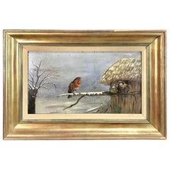 "American 19th Century Painting ""Winter Birds"""