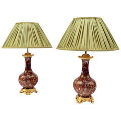 Pair of Cloisonné Enamel Lamps on a Louis XV Style Mount, Late 19th Century
