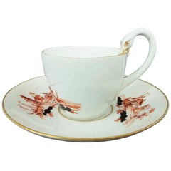Meissen Porcelain Biedermeier Cup and Saucer with Swan Handle, circa 1820