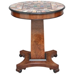 Early 20th Century Walnut and Marble Top Games Table