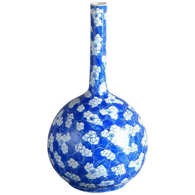 19th Century Blue and White Porcelain Bottle Vase For Sale