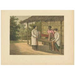 Antique Print of a Native Girl Weaving in Buitenzorg 'Java, Indonesia'