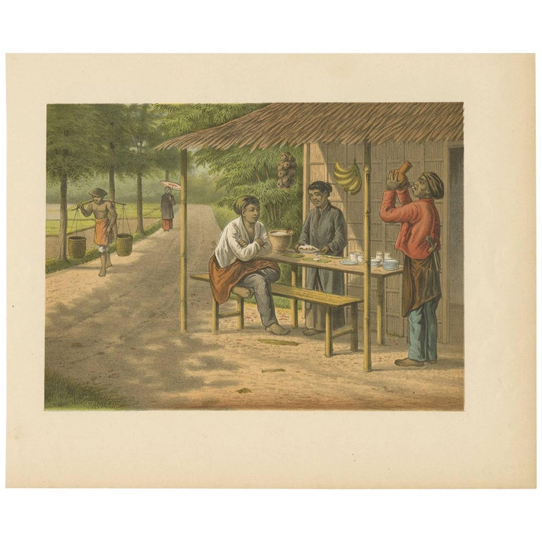 Antique Print of a Warong with Native People, Java, Indonesia