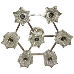 Glass and Chrome Flush Mount Sciolari Style