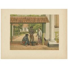 Antique Print of a Native Chicken Salesmen in Batavia 'Java, Indonesia'