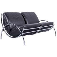 COR Designer Sofa Black Leather Couch Function Chrome Made in Germany