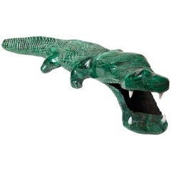 20th Century Malachite Crocodile Italian Green Animal Sculpture