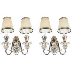 Elegant Pair of Silver Plated Adam Style Sconces