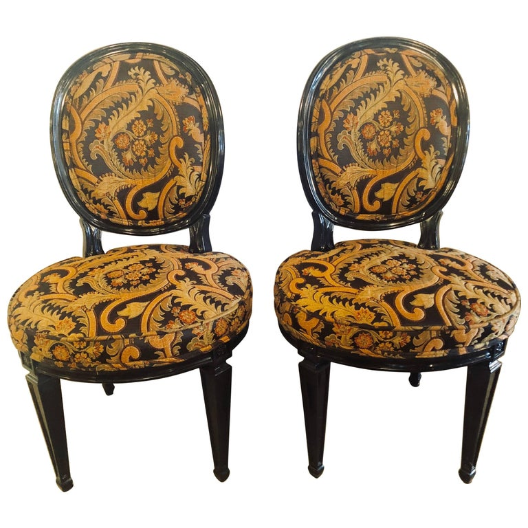 Pair of Ebonized Louis XVI Style Side or Office Chairs Beautifully Upholstered