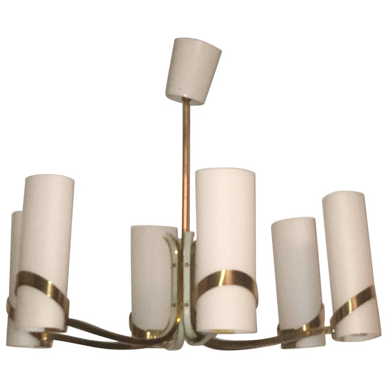 60s Max Ingrand style Milk Glass and Brass Chandelier Attributed to Stilnovo  For Sale