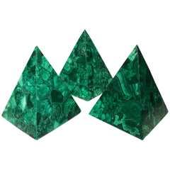 20th Century NeocLassical Malachite Italian Green Pyramids Sculpture